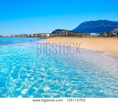 Denia beach in Alicante in blue Mediterranean with Montgo Alicante