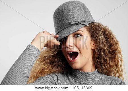Funny Girl In Grey Hat