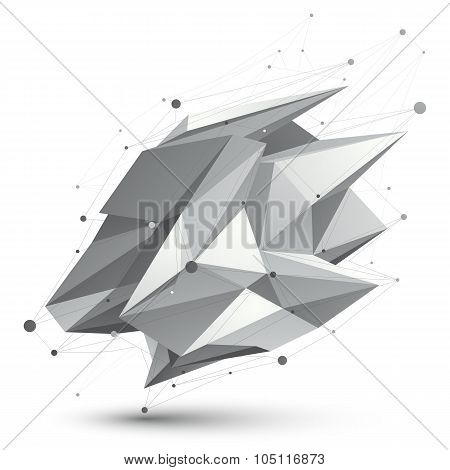 Distorted 3D Abstract Object With Lines And Dots Isolated On White Background.