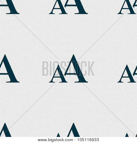 Enlarge Font, Aa Icon Sign. Seamless Abstract Background With Geometric Shapes. Vector
