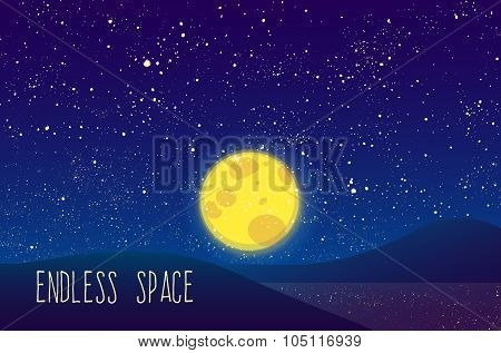 Night vector moon, shining stars on blue sky.