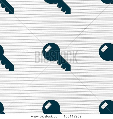 Key Sign Icon. Unlock Tool Symbol.. Seamless Abstract Background With Geometric Shapes. Vector