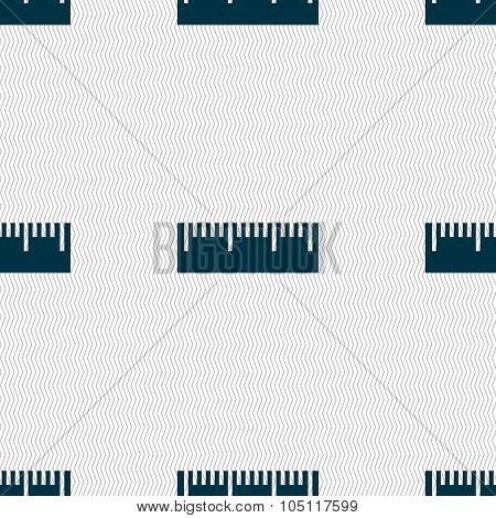Ruler Sign Icon. School Tool Symbol. Seamless Abstract Background With Geometric Shapes. Vector