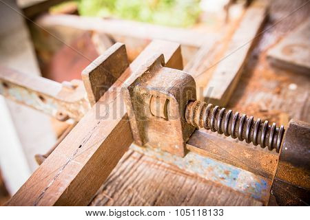 Joiner Tools On Wood Table Background.