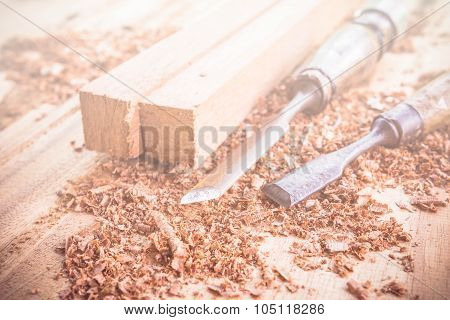 Abstract Carpenter Tools In Pine Wood Table. Made With Color Filters,blurred Focus.