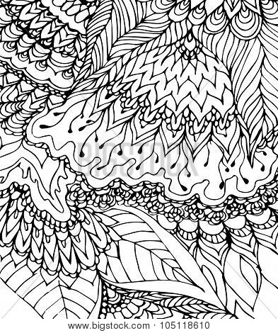 Black And White Template. Doodle Drawing. Hand-drawn Pattern. Abstract Black Lines, Curves And Leave