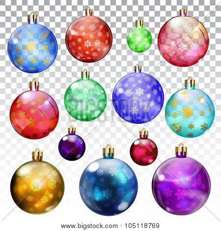 Set Of Transparent And Opaque Christmas Balls With Snowflakes