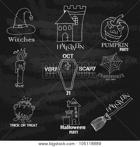 Vintage Typography Halloween Vector Badges Logos Or Labels Pumpkin Ghost Scull Bones Bat Spider Web