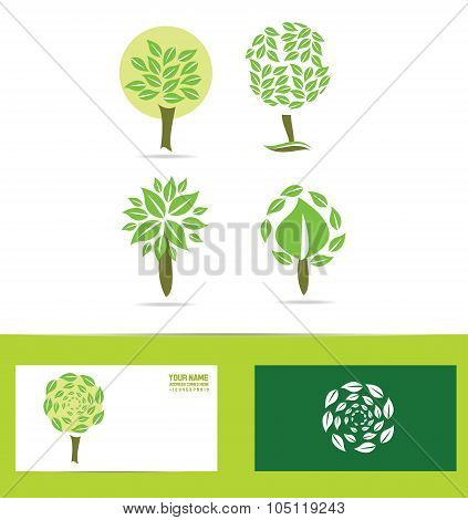 Green Tree Logo Icon Set