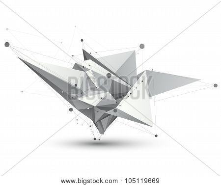 Spatial Vector Monochrome Digital Eps8 Object, Dimensional Technology Element With Wireframe.