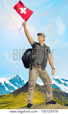 Man tourist standing on mountain top with swiss flag