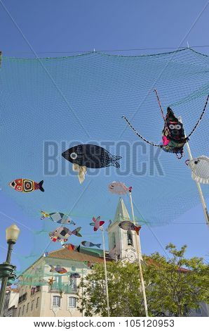 Street Decorated With Crochet Fishes