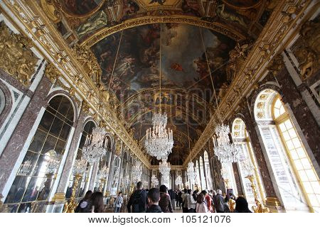 Paris - April 28 2013: Hall Of Mirrors Full Of Tourists In The Palace Of Versailles On April 28, 201