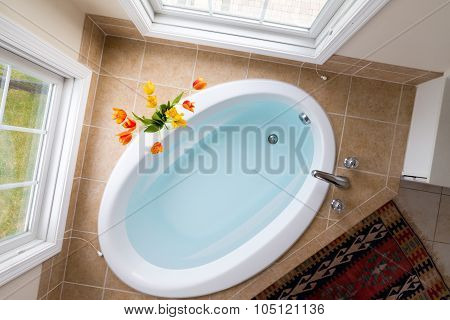 Corner Oval Bathtub Full Of Clean Water