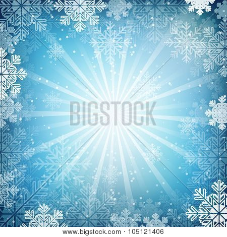 Winter blue vector background, snow, snowflake and shiny effect.