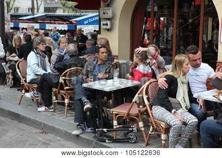 Paris - May 1: View Of Typical Paris Cafe On May 1, 2013 In Pari