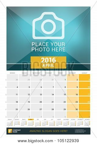 April 2016. Wall Monthly Calendar For 2016 Year. Vector Design Print Template With Place For Photo A