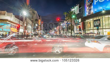 Hollywood Boulevard At Dusk Time