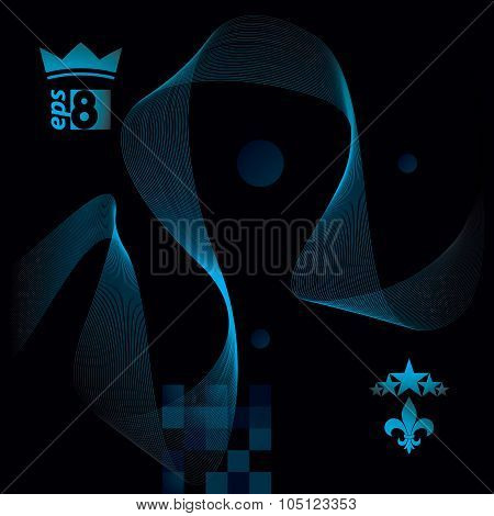 Dark Vector Soft Composition, 3D Wavy Decorative Ribbon. Abstract Sophisticated Background