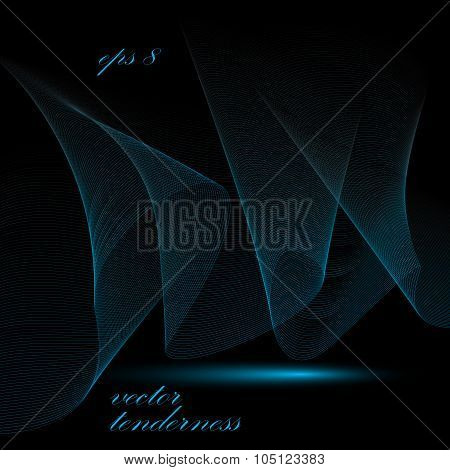 Romantic Decorative Wavy Template, Vector Background With Blue Silky Textile Curves, Motif 3D Abstra
