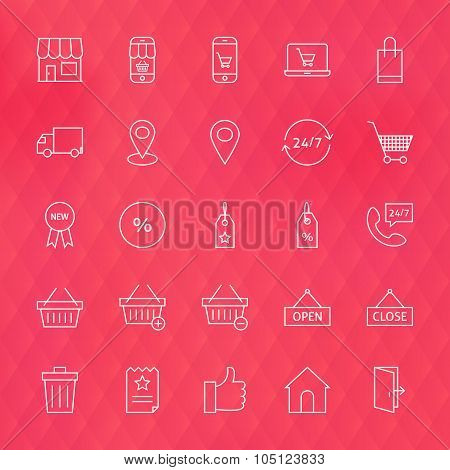 E-commerce And Finance Line Icons Set Over Polygonal Blurred Background
