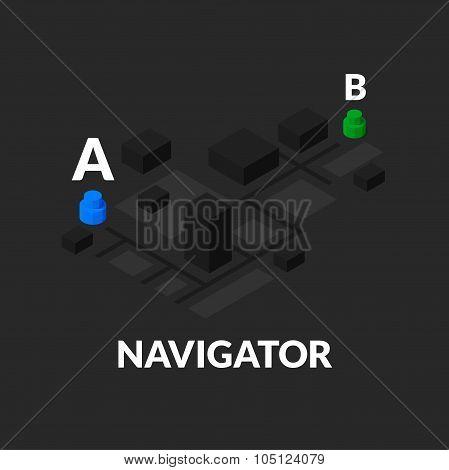 GPS navigator street map with flat isometric buildings
