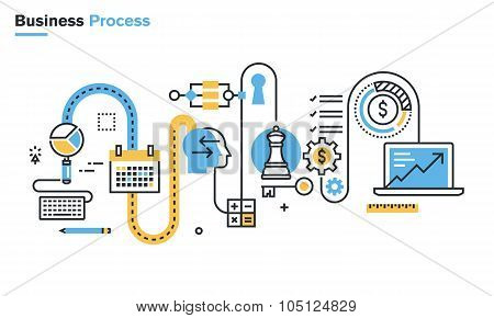 Flat line illustration of business process