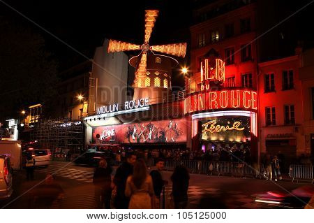 Paris - May 3: The Moulin Rouge At Night, On May 3, 2013 In Pari