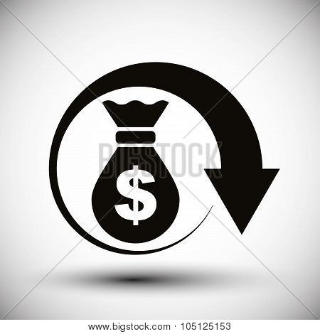 Money Bag With Arrow Cash Money Vector Simple Single Color Icon.