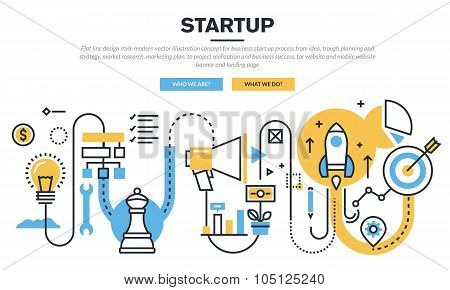 Flat line design concept for business startup process