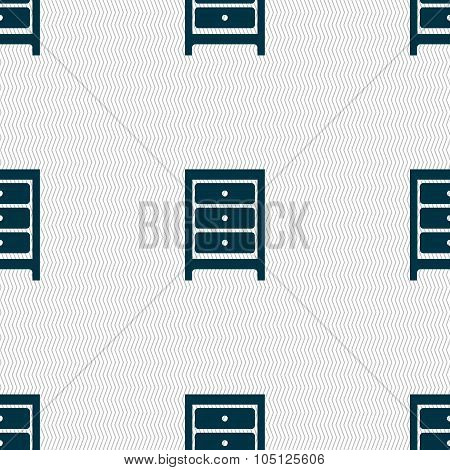 Nightstand Icon Sign. Seamless Abstract Background With Geometric Shapes. Vector