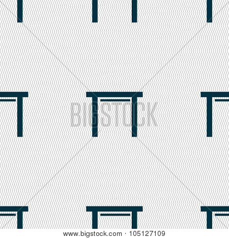 Stool Seat Icon Sign. Seamless Abstract Background With Geometric Shapes. Vector