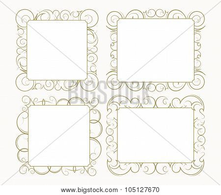 Set Out Of 4 Decorative Lace Ornament, Vintage Frame With Square Empty Place For Your Text. Vector I