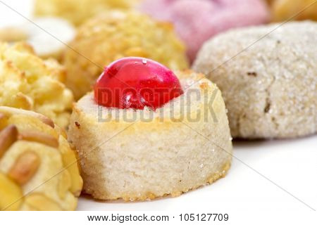 closeup of some different panellets, typical pastries of Catalonia, Spain, eaten in All Saints Day