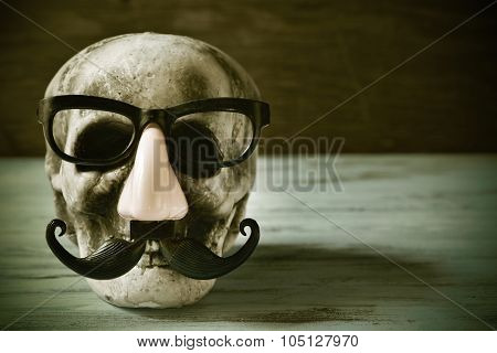 a scary and funny skull with eyeglasses, fake nose and mustache on a rustic wooden surface, with a filter effect