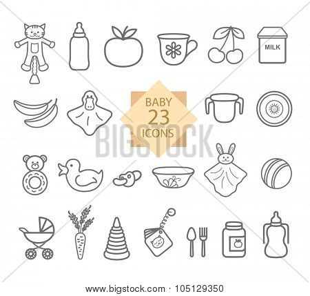 Baby  Equipment.  Set of Line Icons: Toys, Food, Eat.