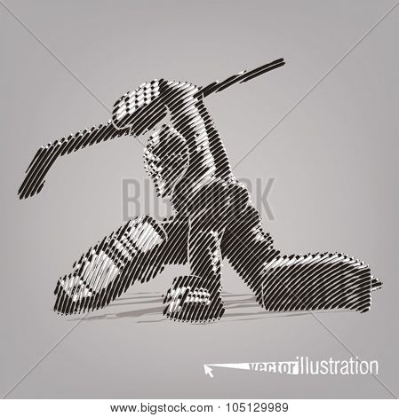 Hockey goaltender. Vector artwork in the style of ink drawing