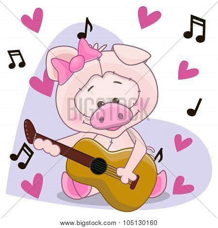Pig With Guitar