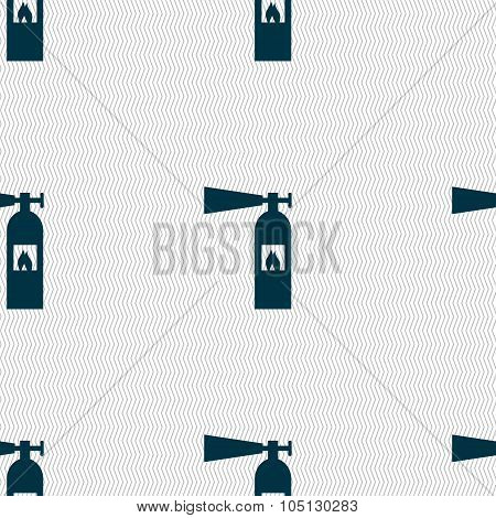 Fire Extinguisher Icon Sign. Seamless Abstract Background With Geometric Shapes. Vector