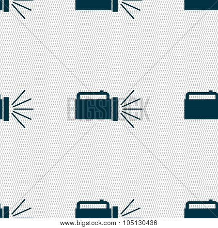 Flashlight Icon Sign. Seamless Abstract Background With Geometric Shapes. Vector