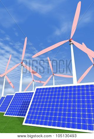 Solar Panels And Wind Generators.