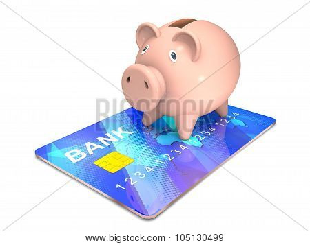 Piggy Bank And Bank Card.