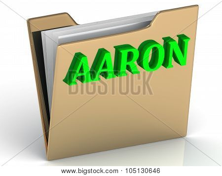 Aaron- Bright Green Letters On Gold Paperwork Folder