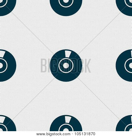 Cd Or Dvd Icon Sign. Seamless Abstract Background With Geometric Shapes. Vector