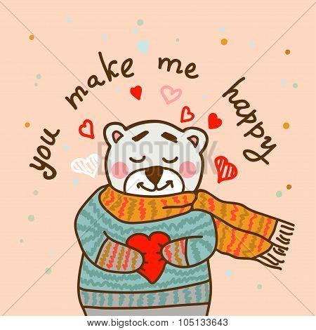 happy teddy card in vector