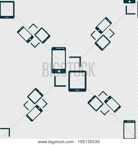 Synchronization Sign Icon. Communicators Sync Symbol. Data Exchange. Seamless Pattern With Geometric