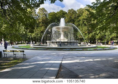 Historic Fountain In Saski Park, Warsaw, Poland