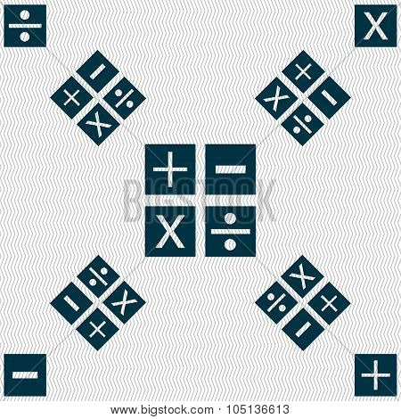 Multiplication, Division, Plus, Minus Icon Math Symbol Mathematics. Seamless Pattern With Geometric