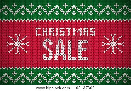 Christmas Sale message on northern style vector knitted pattern. Elements are layered separately in vector file. Global colors. Easy editable.
