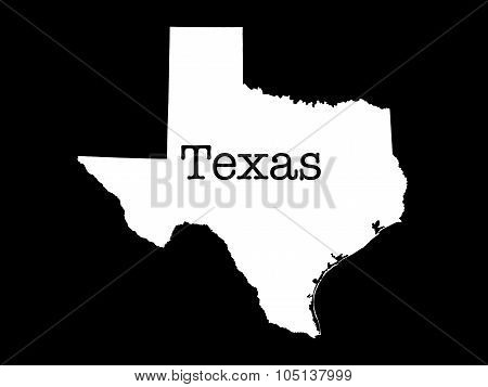 Texas State Outline on black background